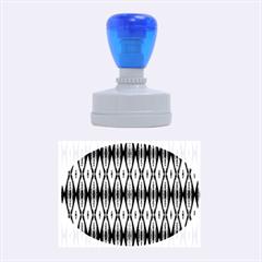 Blue White Diamond Pattern  Rubber Oval Stamps by Costasonlineshop