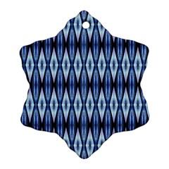 Blue White Diamond Pattern  Snowflake Ornament (2 Side) by Costasonlineshop