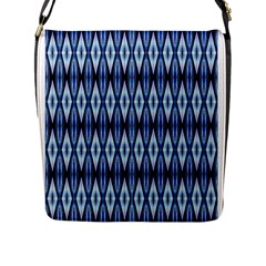 Blue White Diamond Pattern  Flap Messenger Bag (l)  by Costasonlineshop