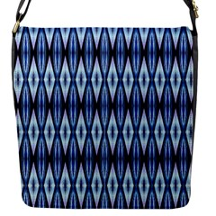 Blue White Diamond Pattern  Flap Messenger Bag (s) by Costasonlineshop