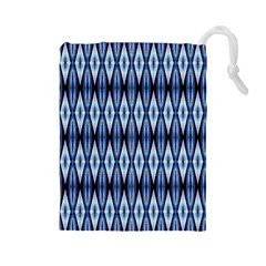 Blue White Diamond Pattern  Drawstring Pouches (large)  by Costasonlineshop