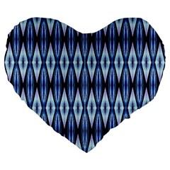 Blue White Diamond Pattern  Large 19  Premium Flano Heart Shape Cushions by Costasonlineshop