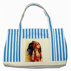Indian 22 Striped Blue Tote Bag by indianwarrior