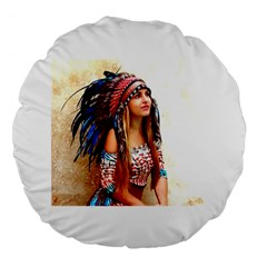 Indian 21 Large 18  Premium Flano Round Cushions by indianwarrior