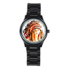Indian 3 Stainless Steel Round Watch by indianwarrior