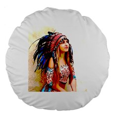 Indian 22 Large 18  Premium Flano Round Cushions by indianwarrior