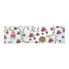 Pink Whimsical Flowers On Blue Satin Scarf (oblong) by Zandiepants