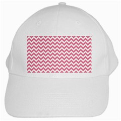 Pink And White Zigzag White Cap by Zandiepants