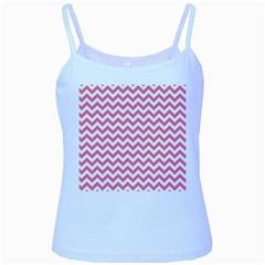 Pink And White Zigzag Baby Blue Spaghetti Tank by Zandiepants