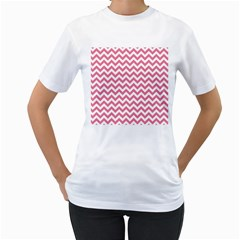 Pink And White Zigzag Women s T Shirt (white) (two Sided) by Zandiepants