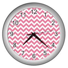 Pink And White Zigzag Wall Clocks (silver)  by Zandiepants