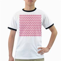Pink And White Zigzag Ringer T Shirts by Zandiepants