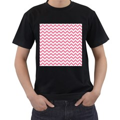 Pink And White Zigzag Men s T Shirt (black) (two Sided) by Zandiepants