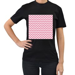 Pink And White Zigzag Women s T Shirt (black) (two Sided) by Zandiepants