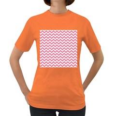 Pink And White Zigzag Women s Dark T-Shirt by Zandiepants