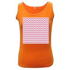 Pink And White Zigzag Women s Dark Tank Top by Zandiepants