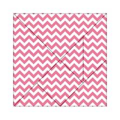 Pink And White Zigzag Acrylic Tangram Puzzle (6  X 6 ) by Zandiepants