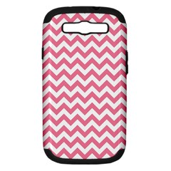Pink And White Zigzag Samsung Galaxy S Iii Hardshell Case (pc+silicone) by Zandiepants