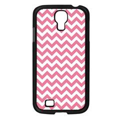 Pink And White Zigzag Samsung Galaxy S4 I9500/ I9505 Case (black) by Zandiepants
