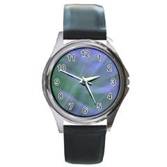 Purple Fog Round Metal Watch by timelessartoncanvas