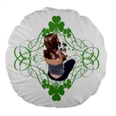 Pit Bull T Bone Lucky Puppy Large 18  Premium Round Cushions by ButThePitBull