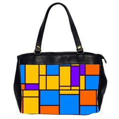 Retro colors rectangles and squares Oversize Office Handbag (2 Sides) by LalyLauraFLM