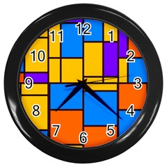 Retro Colors Rectangles And Squares wall Clock (black) by LalyLauraFLM