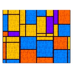 Retro Colors Rectangles And Squares 			jigsaw Puzzle (rectangular) by LalyLauraFLM