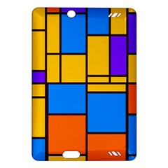 Retro Colors Rectangles And Squares kindle Fire Hd (2013) Hardshell Case by LalyLauraFLM