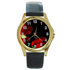 Roses 2 Round Gold Metal Watch by timelessartoncanvas