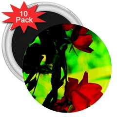 Red Roses And Bright Green 1 3  Magnets (10 Pack)  by timelessartoncanvas