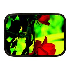 Red Roses And Bright Green 1 Netbook Case (medium)  by timelessartoncanvas