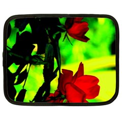 Red Roses And Bright Green 1 Netbook Case (xxl)  by timelessartoncanvas