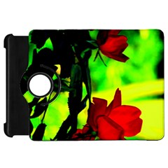 Red Roses And Bright Green 1 Kindle Fire Hd Flip 360 Case by timelessartoncanvas
