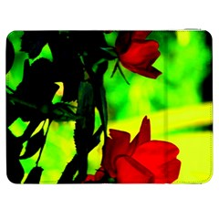 Red Roses And Bright Green 1 Samsung Galaxy Tab 7  P1000 Flip Case by timelessartoncanvas