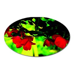 Red Roses And Bright Green 2 Oval Magnet by timelessartoncanvas