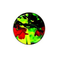 Red Roses And Bright Green 2 Hat Clip Ball Marker by timelessartoncanvas