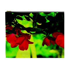 Red Roses And Bright Green 2 Cosmetic Bag (xl) by timelessartoncanvas