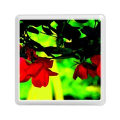Red Roses And Bright Green 2 Memory Card Reader (square)  by timelessartoncanvas