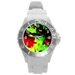 Red Roses and Bright Green 2 Round Plastic Sport Watch (L) by timelessartoncanvas