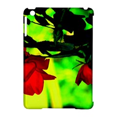 Red Roses And Bright Green 2 Apple Ipad Mini Hardshell Case (compatible With Smart Cover) by timelessartoncanvas