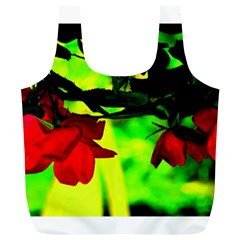 Red Roses And Bright Green 2 Full Print Recycle Bags (l)  by timelessartoncanvas