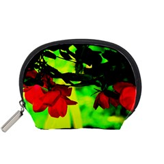 Red Roses And Bright Green 2 Accessory Pouches (small)  by timelessartoncanvas