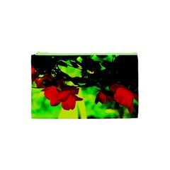 Red Roses And Bright Green 2 Cosmetic Bag (xs) by timelessartoncanvas