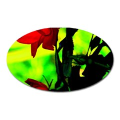 Red Roses And Bright Green 3 Oval Magnet by timelessartoncanvas