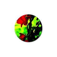 Red Roses And Bright Green 3 Golf Ball Marker by timelessartoncanvas