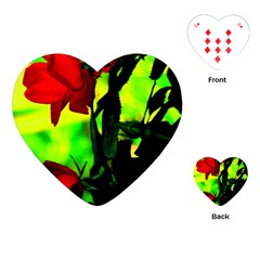 Red Roses And Bright Green 3 Playing Cards (heart)  by timelessartoncanvas