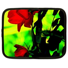 Red Roses And Bright Green 3 Netbook Case (xxl)  by timelessartoncanvas