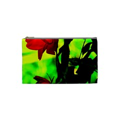 Red Roses And Bright Green 3 Cosmetic Bag (small)  by timelessartoncanvas