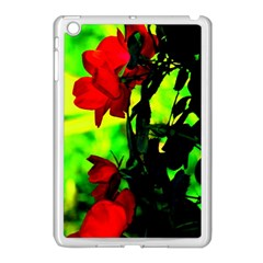 Red Roses And Bright Green 3 Apple Ipad Mini Case (white) by timelessartoncanvas